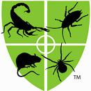 Green Pest Control Shield Logo w/Scorpion, Roach, Rodent and Spider silhouettes