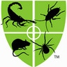 Green Shield with scorpion, roach, rodent and spider. Company logo.